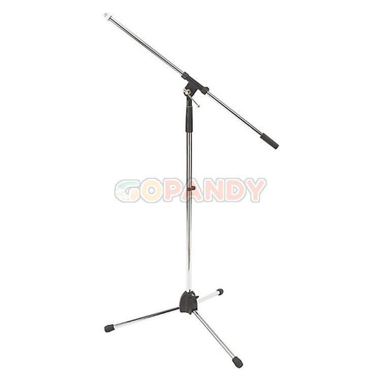 chrome boom tripod microphone stand  silver